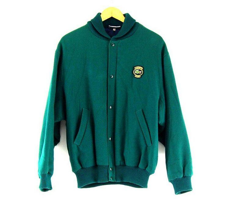 Green lacoste wool bomber jacket