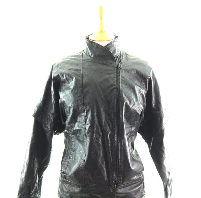 80s Side Zip Leather Jacket Close Up