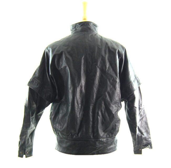 80s Side Zip Leather Jacket back