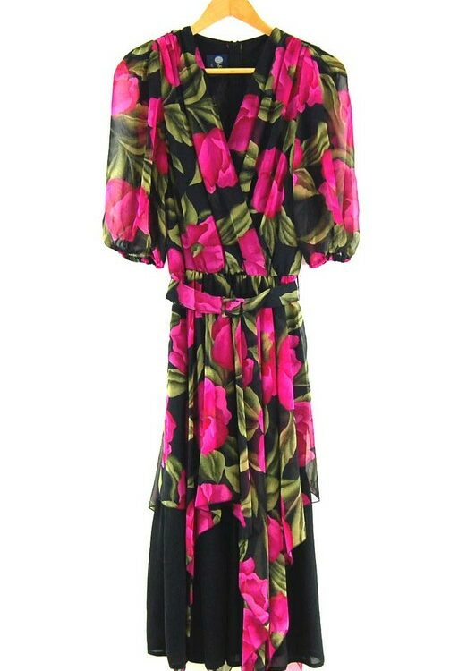 80s Rose Print Dress