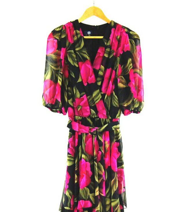 Close up of 80s Rose Print Dress
