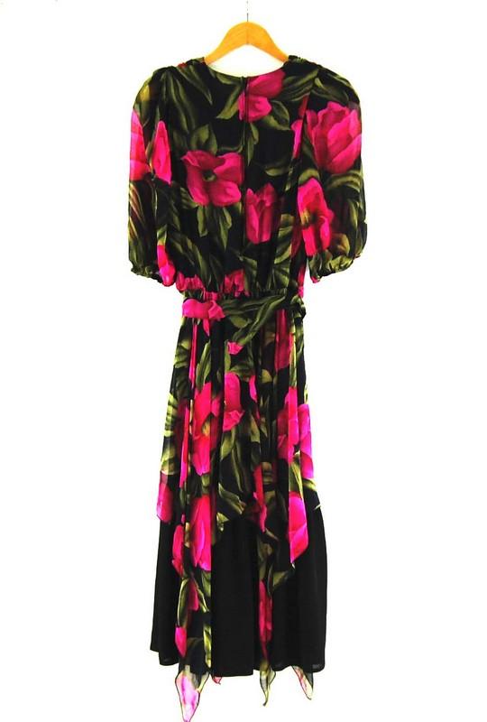 Back of 80s Rose Print Dress