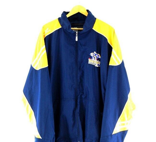 Close up of Kewl Whitby Wildcats Blue Windbreaker Jacket