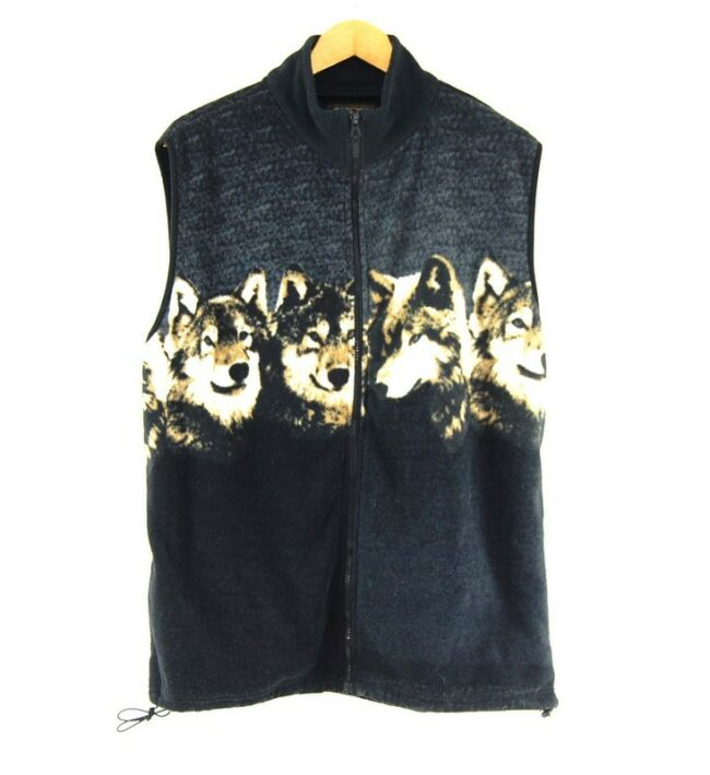 Mens Wolf Print Fleece Gilet