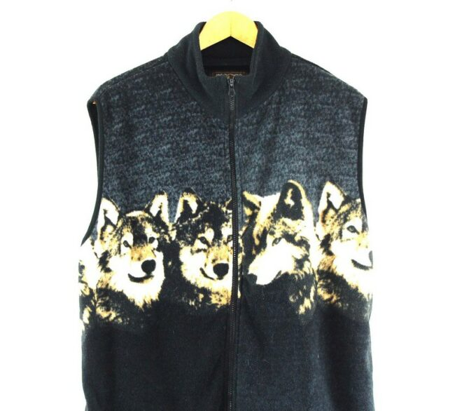 Close up of Mens Wolf Print Fleece Gilet