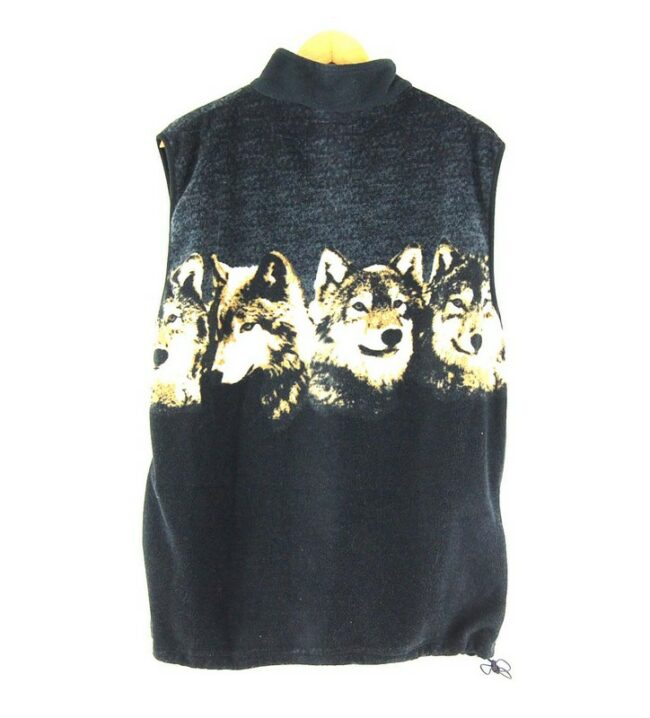 Back of Mens Wolf Print Fleece Gilet