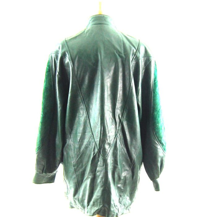 80s Green Suede and Leather Jacket back