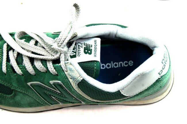 Close up of Green New Balance Trainers