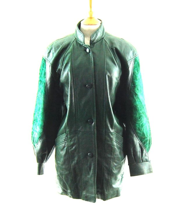 80s Green Suede and Leather Jacket