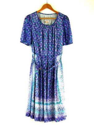 Belted 70s Floral Dress