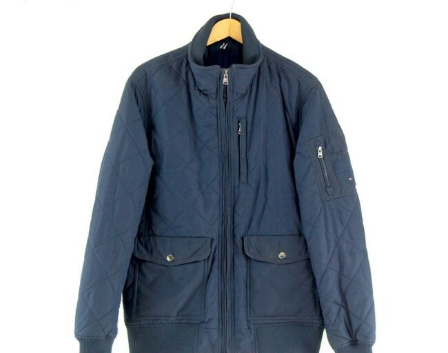 Close up of Mens Navy Tommy Hilfiger Quilted Jacket