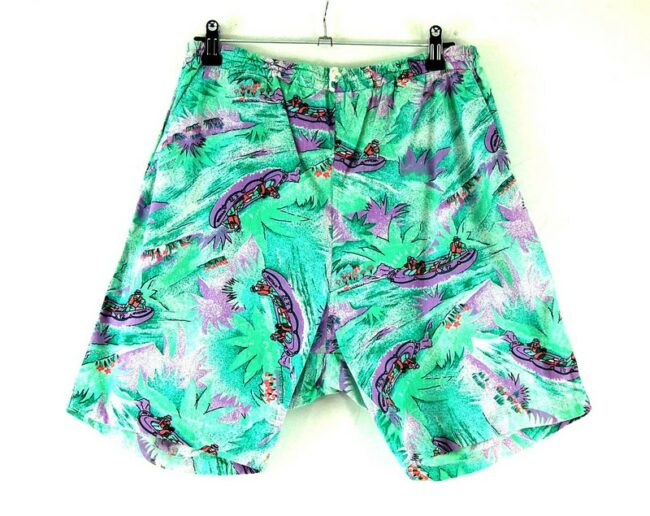 Back of 90s Canoe Boat Print Comfy Shorts