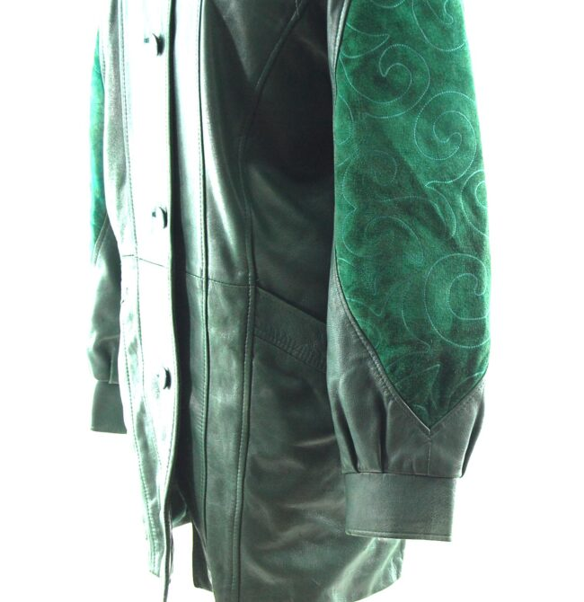 80s Green Suede and Leather Jacket sleeve detail