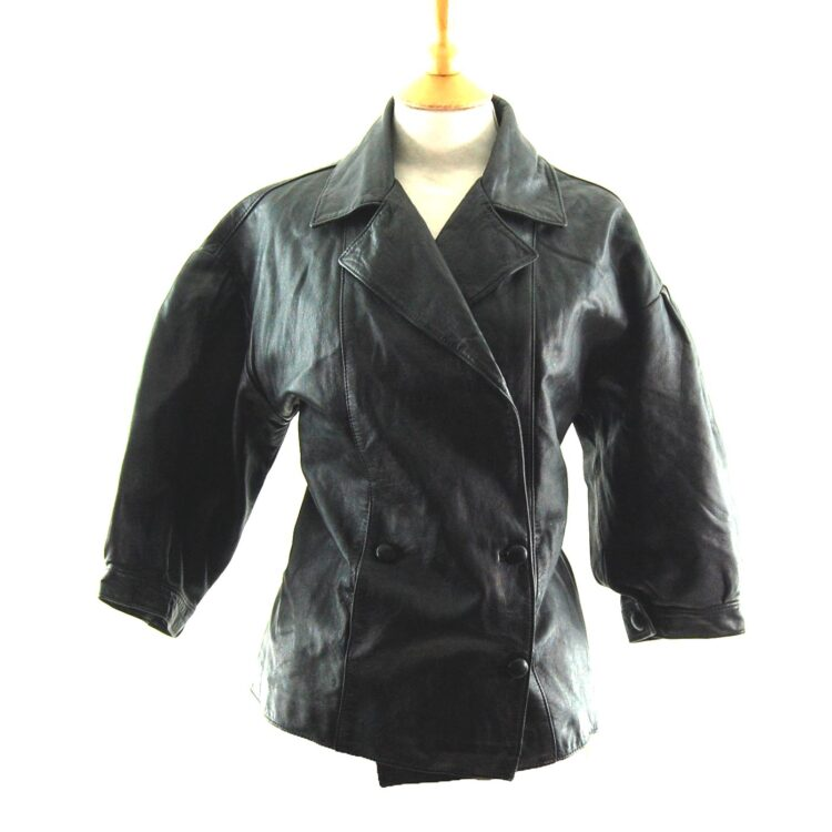 80s Cropped Sleeved Leather Jacket