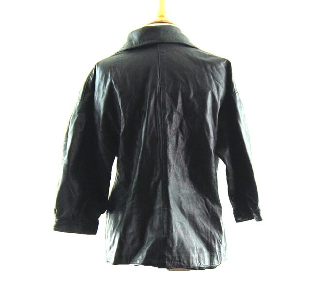 80s Cropped Sleeved Leather Jacket close up back