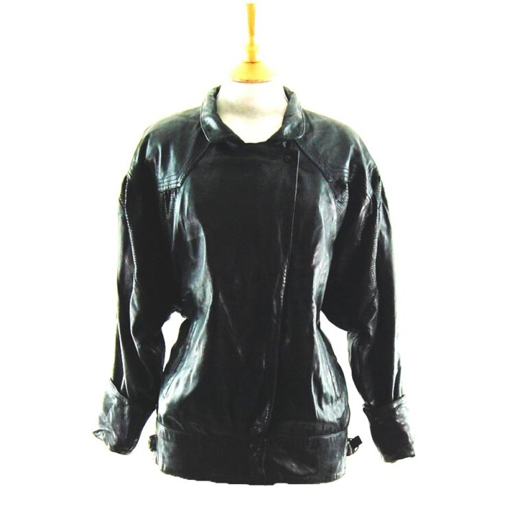 80s Leather and Faux Snakeskin Jacket