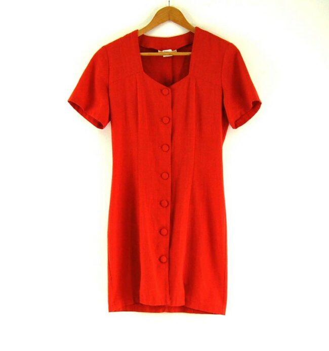 80s Orange Button Through Dress