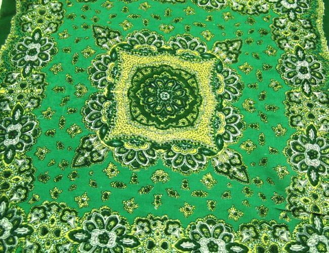 Close up of Green Floral Print Bandana