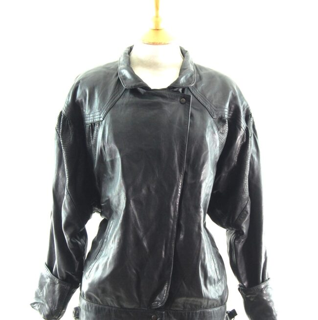 80s Leather and Faux Snakeskin Jacket close up