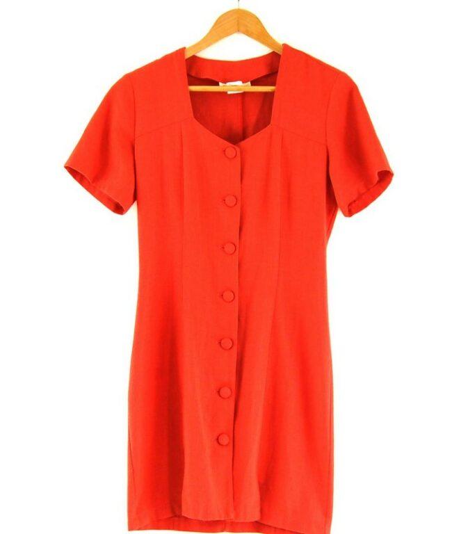 Close up of 80s Orange Button Through Dress