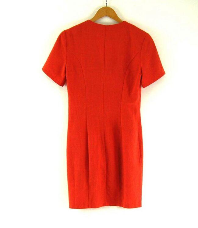 Back of 80s Orange Button Through Dress