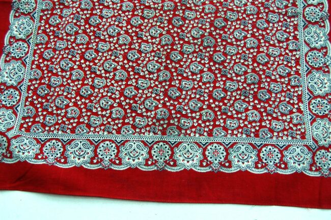 Close up of Vintage Red Paisleys Bandana