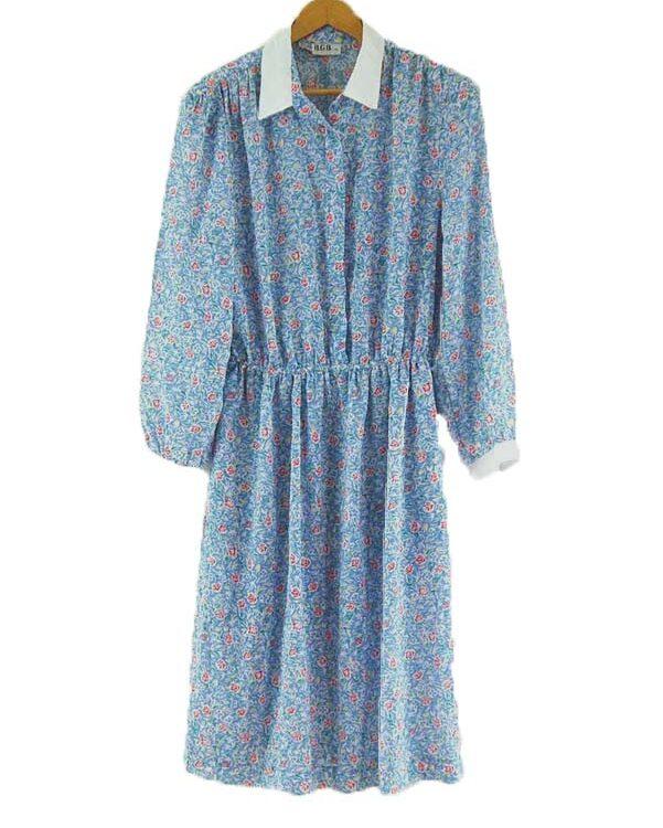 80s Floral Shirt Dress