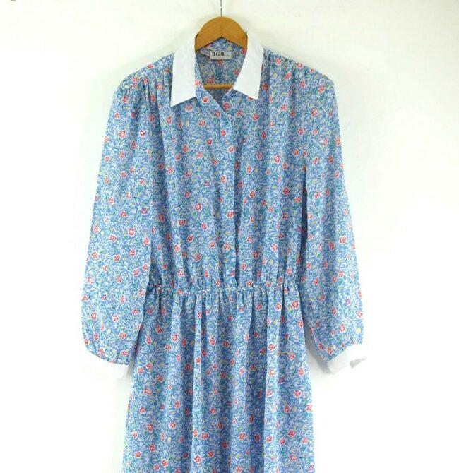 Close up of 80s Floral Shirt Dress