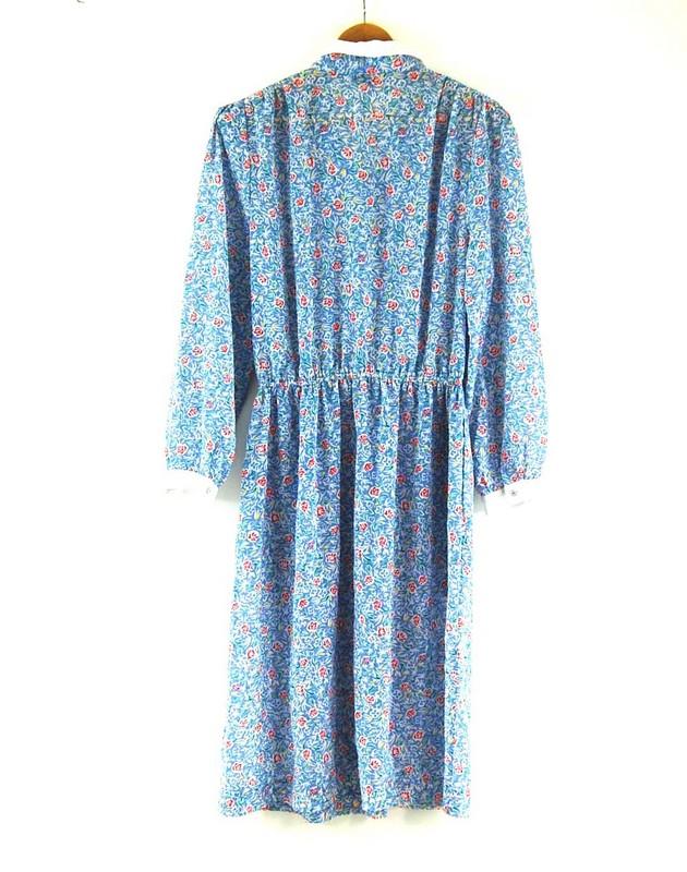 Back of 80s Floral Shirt Dress