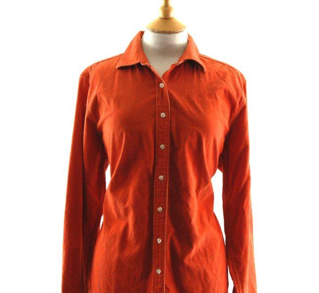 90s Orange Corduroy Shirt