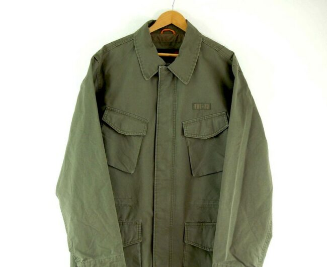 Close up of Mens Olive Timberland Field Jacket