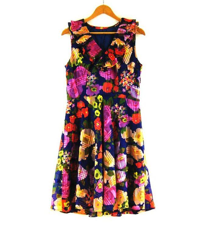 70s Flounce Neck Dress