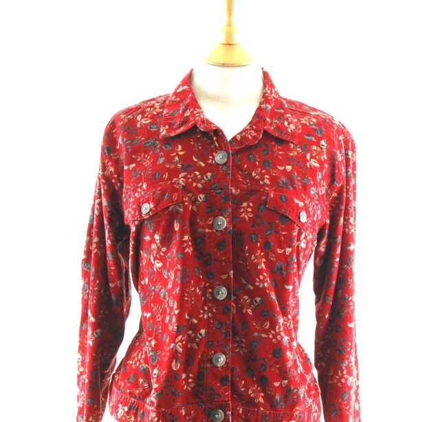 Red Floral Corduroy Shirt