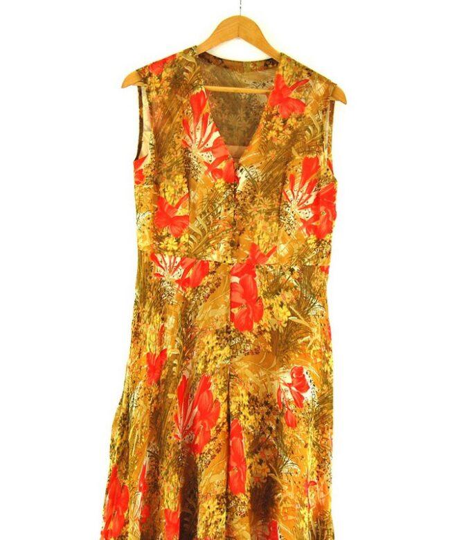 Close up of 70s Chiffon Dress