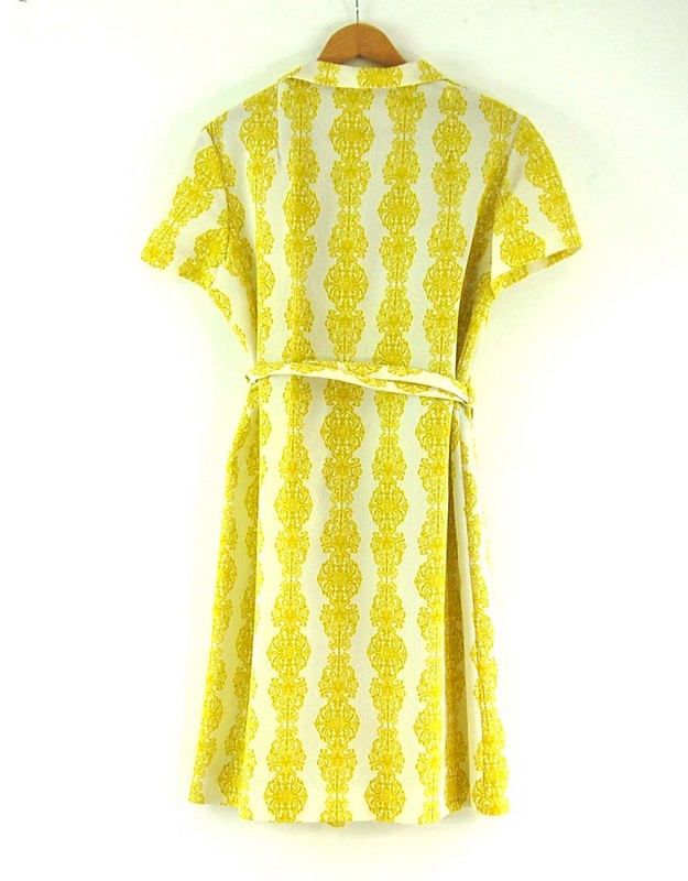 Back of Belted 70s Print Dress