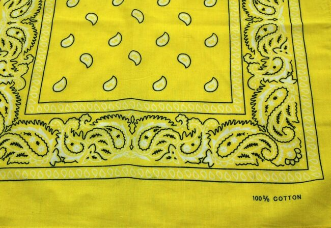 lose up of Yellow Paisley Print Bandana
