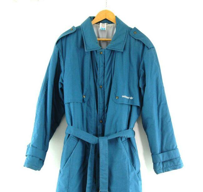Close up of Blue Adidas Long Coat Mens