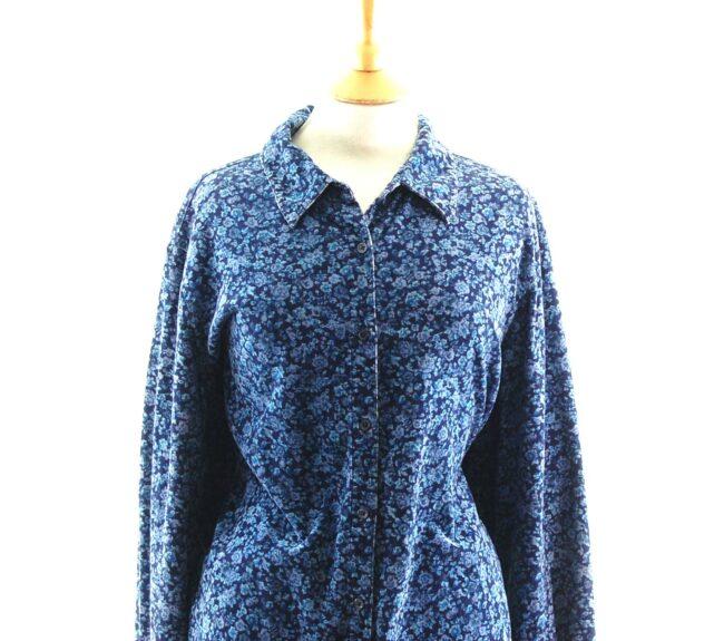 Blue Floral Corduroy Shirt