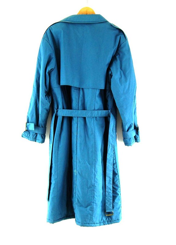 Back ofBlue Adidas Long Coat Mens
