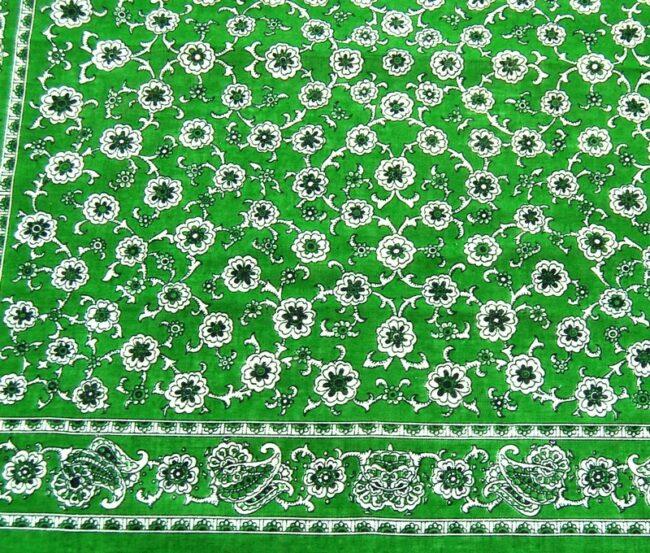 Close up Green Floral Paisley Print Bandana