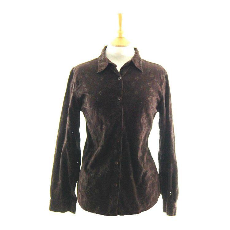 90s Brown Embroidered Corduroy Shirt