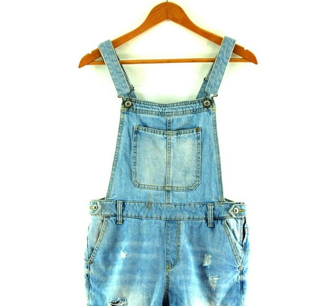 Close up of Denim Dungaree Shorts For Women
