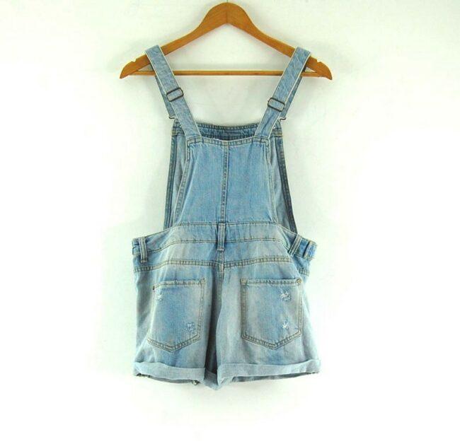 Back of Denim Dungaree Shorts For Women