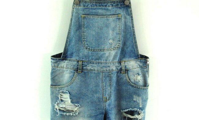 Close up of Denim Dungaree Shorts Womens