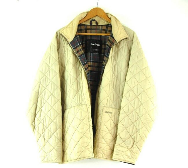 Close up of Beige Quilted Barbour Flyweight Jacket