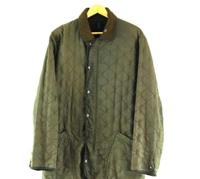 Close up of Mens Vintage Barbour Quilted Jacket.