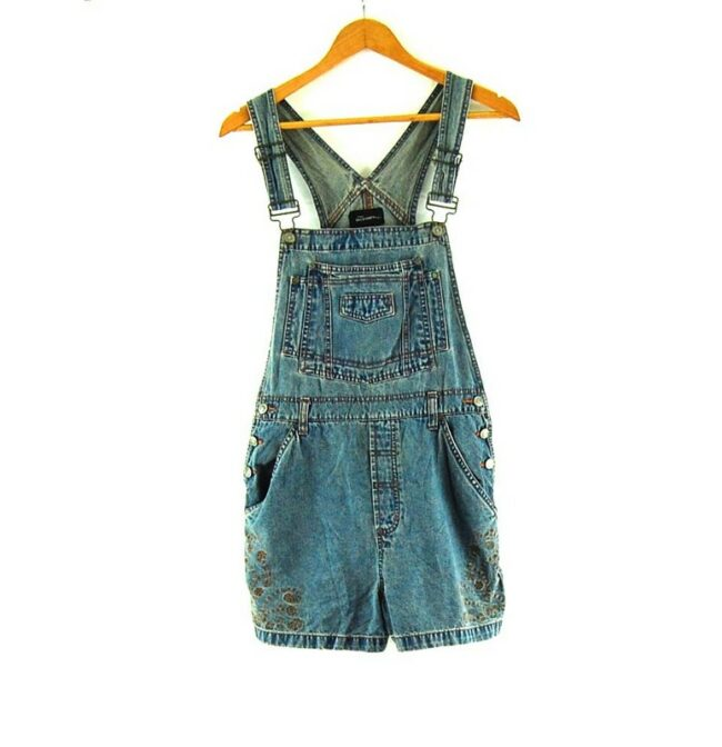 Blue Embroidered Short Dungarees Womens.