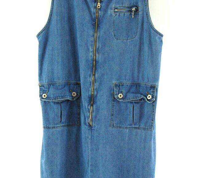 Close up of 90s Denim Pinafore Dress
