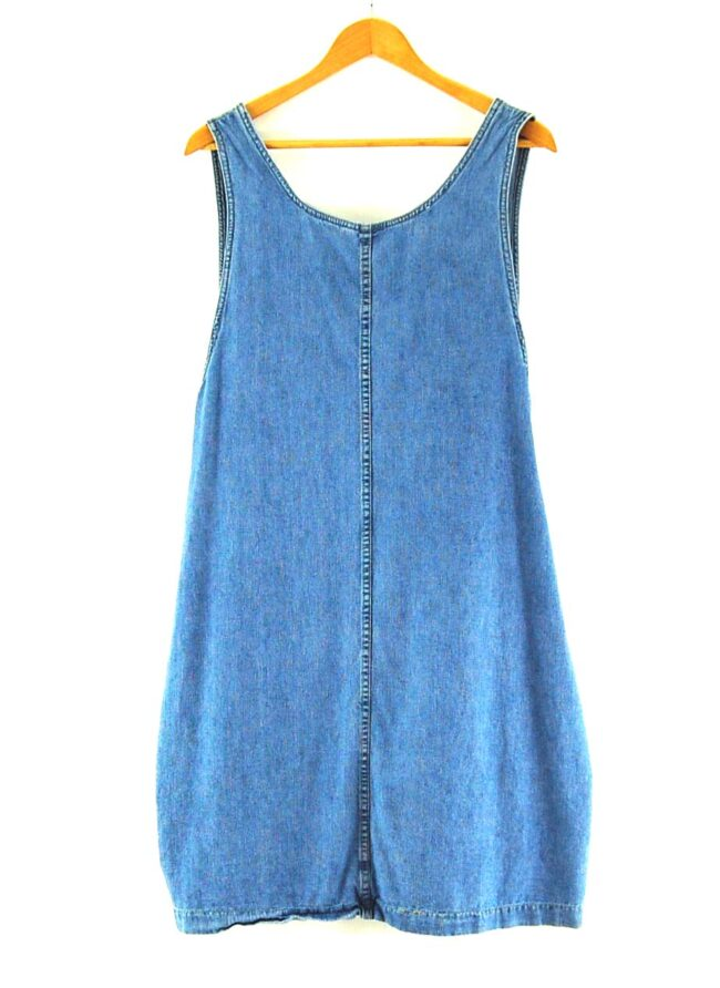 Back of Close up of 90s Denim Pinafore Dress