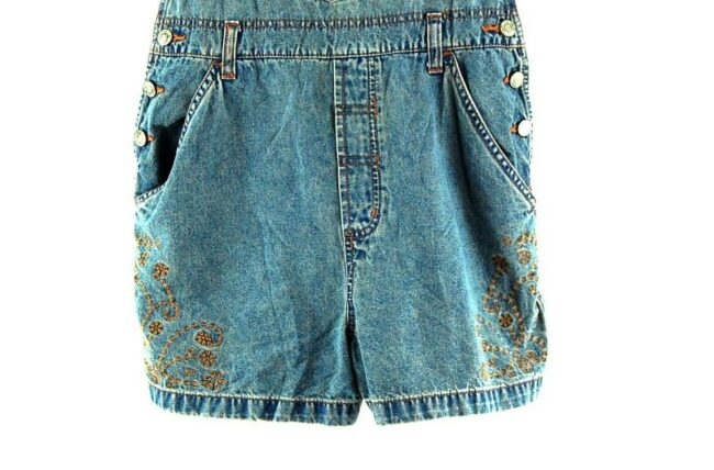 Close up ofBlue Embroidered Short Dungarees Womens.